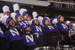 NORTHWESTERN! ::  	   The Northwestern University 'Wildcat' Marching Band performs at Ryan Field as Northwestern Wildcat Football competes against Western Michigan University on September 14, 2013.  Photo by Daniel M. Reck (GSESP08).