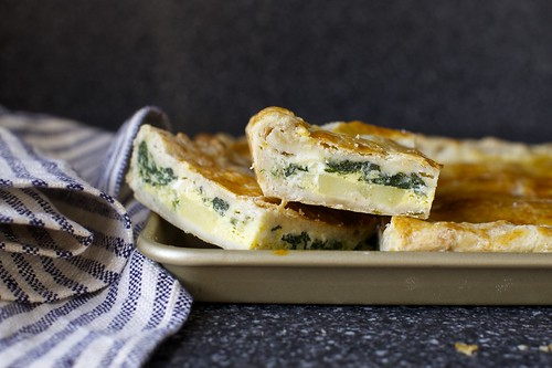 slab pie with eggs, potato and spinach