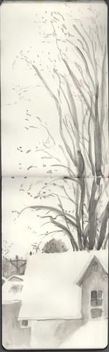 winter urbanlandscape waterbrush cedarfallsiowa watersolublegraphitestick marciamilnerbrage