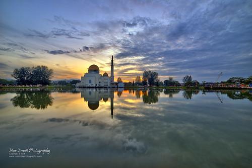 reflection sunrise hdr mirrorreflection puchongperdana hdrphotography sifoocom masjidassalam nikond800e nurismailphotography nurismailmohammed nurismail