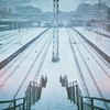 #railway #station #perspective #urban #snow