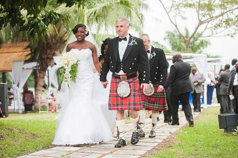 groom wearing a kilt, wedding in Ghana, Angela and Bruce's wedding in Ghana