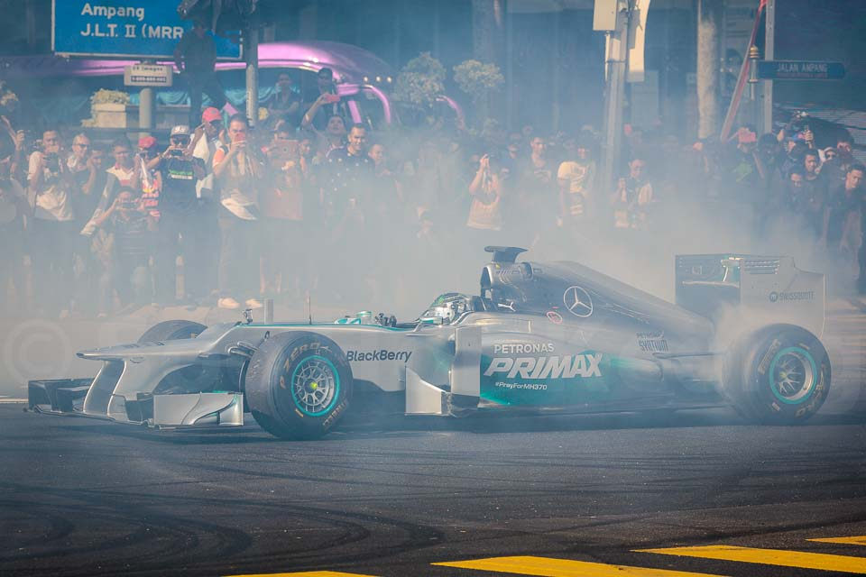 "Nico Roseberg doing a  ""donut"" 2014 Petronas Motorsports Demo Run @ Kuala Lumpur, Malaysia"