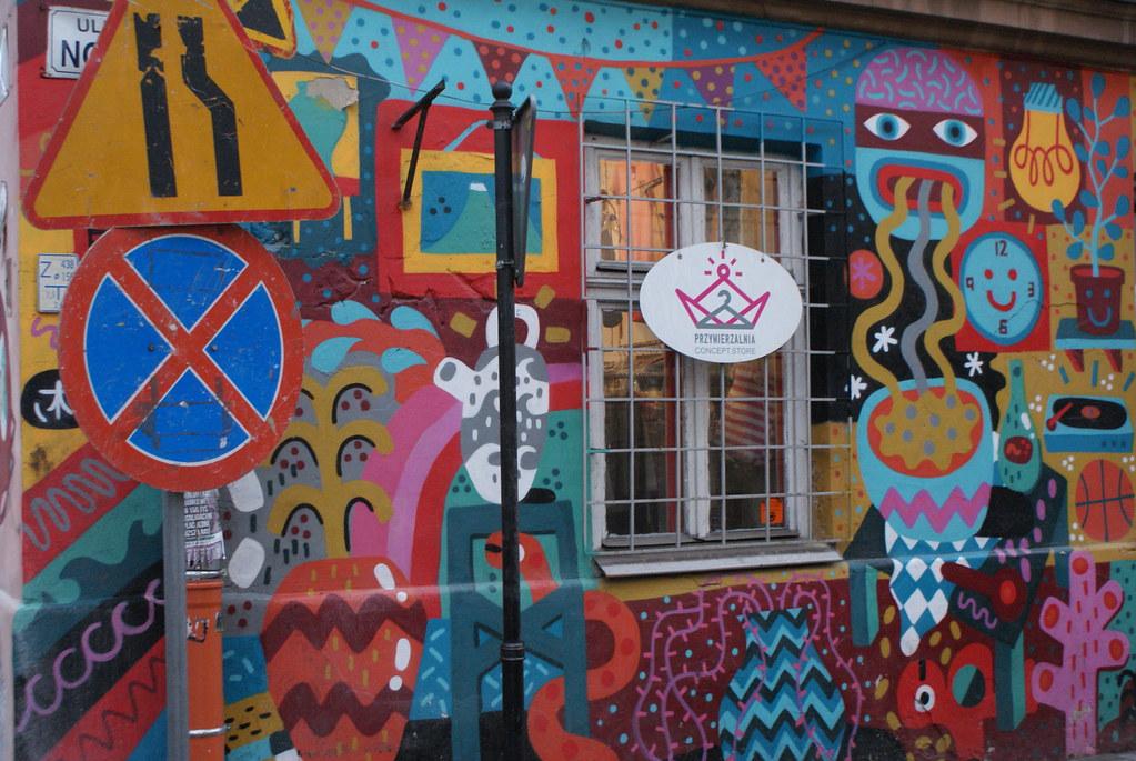 > Street art à Cracovie dans la quartier de Kazimierz.