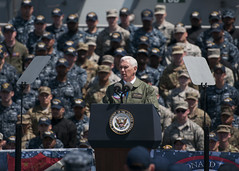 Vice President Michael R. Pence addresses service members on the flight deck of USS Ronald Reagan (CVN 76). (U.S. Navy/MCSN Frank Joseph Speciale)