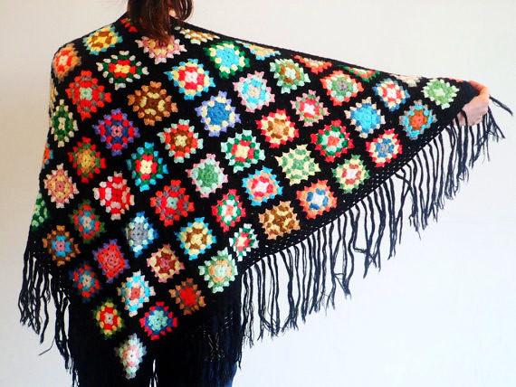 crochet colourful granny square shawl