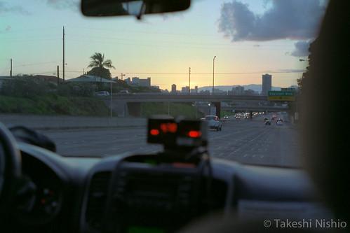 タクシーから見えた夕焼け / Sunset glow, in taxi