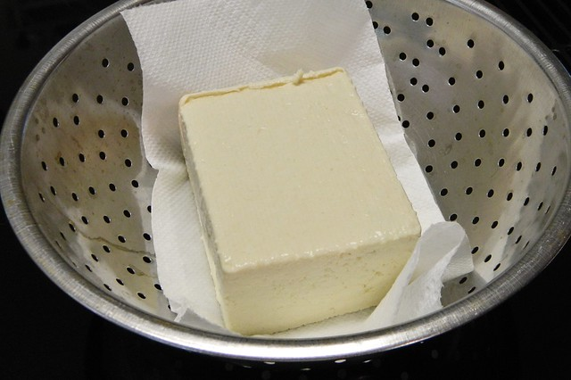 draining tofu