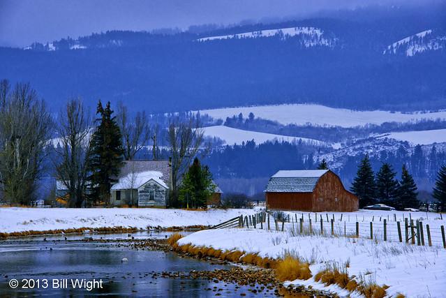 Rainey Creek Farm Scene In Winter
