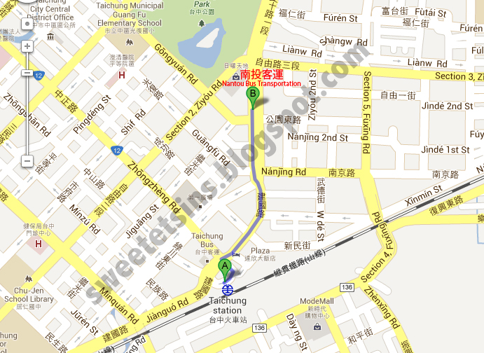 map from taichung railway station to nantou bus transporation