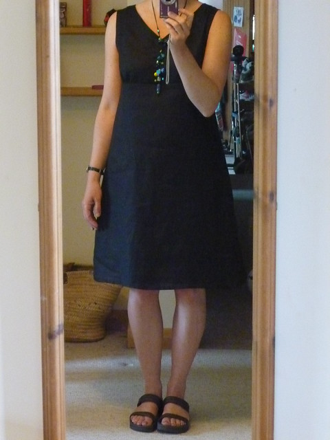 New dress based on an amalgamation of Dresses I and S from The Stylish Dress Book by Yoshiko Tsukiori made in black linen.