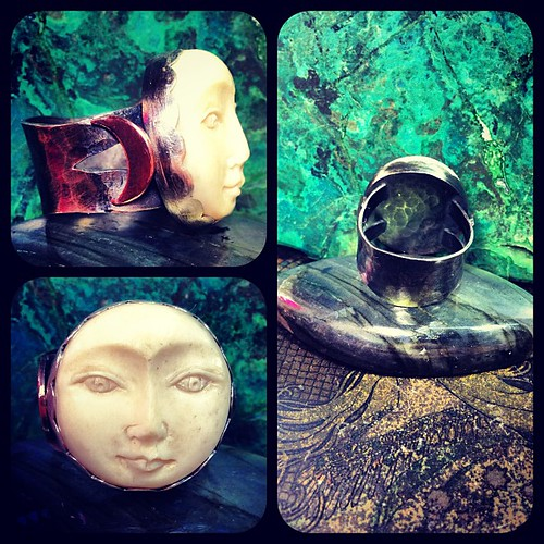 Full moon goddess ring. Carved bone luna face, sterling silver, copper crescents. A gift for my stepmama!