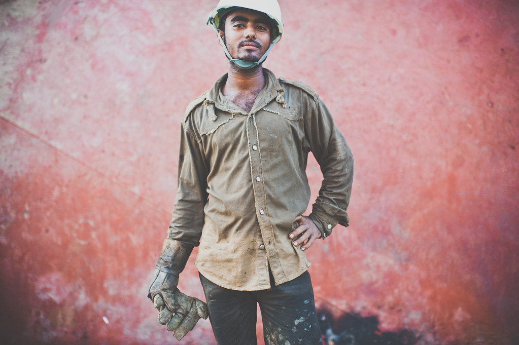 Shipbreaking yard worker