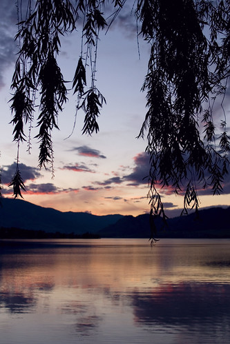 trees sunset lake mountains landscape osoyoos osoyooslake