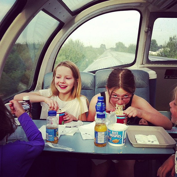 On the train to Jasper with @the_naughty_pug and @jessicat818 's kids.