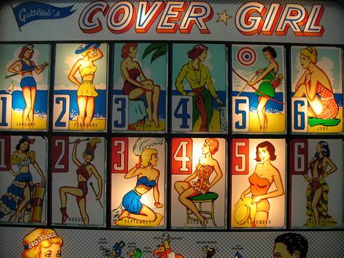 Cover Girl pinball backglass