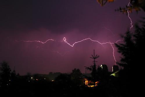 storm church rain night lightnings