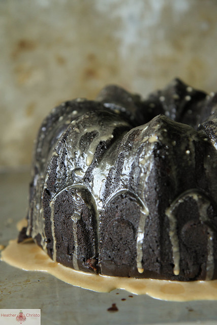 Dark Chocolate Coconut Zucchini Cake with Mocha Glaze