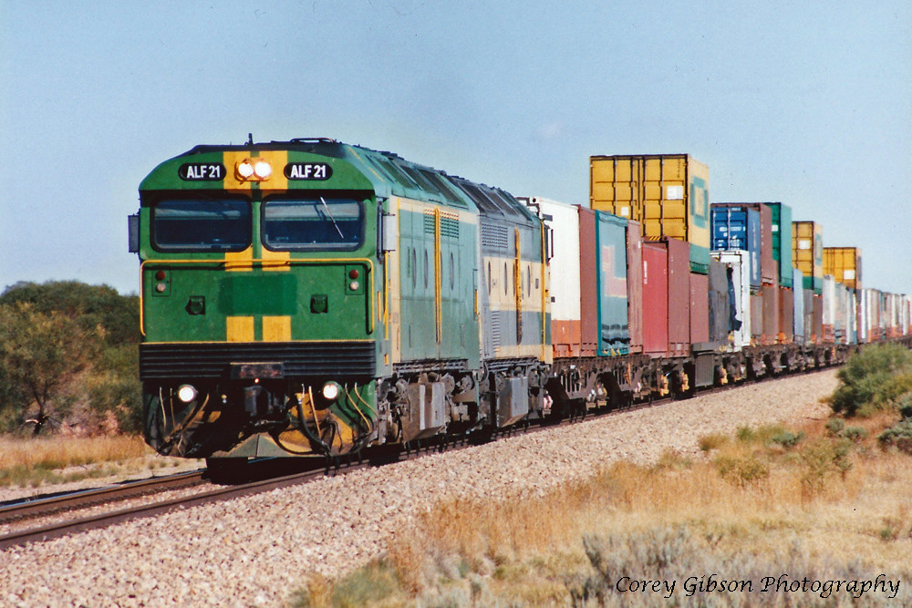ALF21 with the 4AP4 freight near Pt Germein by Corey Gibson