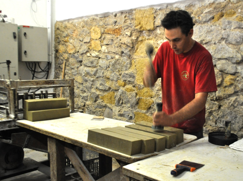 Marseille Soap Being Hand-Stamped at the Marius Fabre Soap Factory