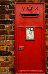 wall, red, post box, letter box, brick,