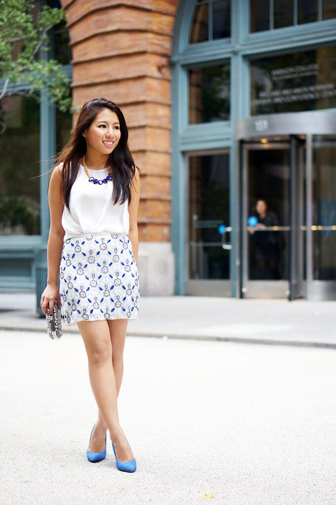 Petite Hues, New York City, NYC Fashion Blogger, Style Blogger, Yumi Kim Sequins Skirt, DIY Necklace, Zara Sequins Clutch, Aldo Blue Heels, Gorjana Stackable Rings, 2014 Pantone Color, Dazzling Blue,