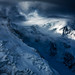 Ice, seracs, glacier, clouds and light on the north Face of Mont Blanc by Tristan Shu
