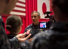 Adm. Harry B. Harris Jr. answers interview questions after an all hands call at Fleet Activities Yokosuka, Nov. 19. (U.S. Navy photo by Mass Communication Specialist Seaman Raymond D. Diaz III)
