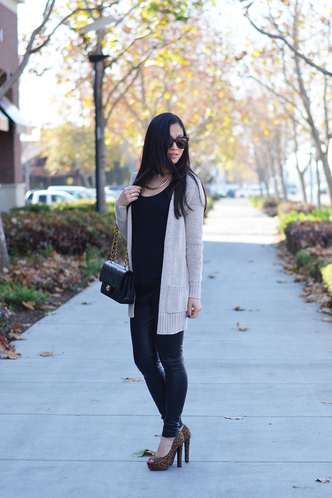 black leather pants & cozy knit sweater cardigan