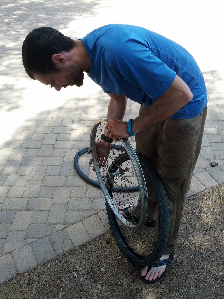 Meanwhile, Luke worked on fixing some flats & replacing tires on some of the bikes.