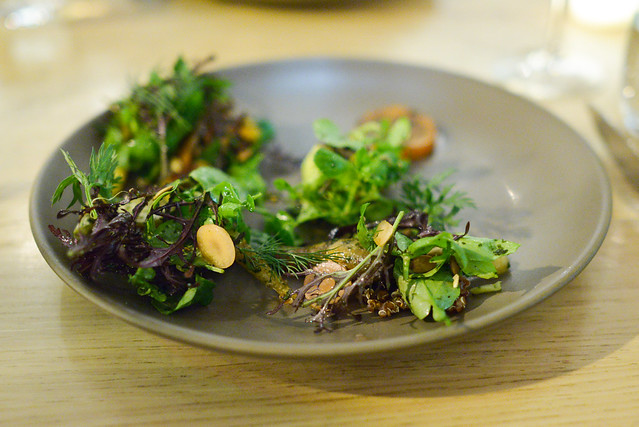 carrots roasted over seaweed, avocado, quinoa, purslane, carrot top pesto