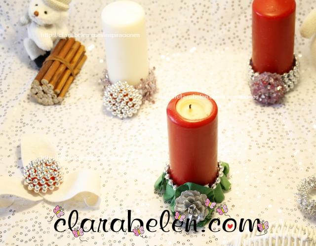Portavelas con tapones de plástico para Navidad