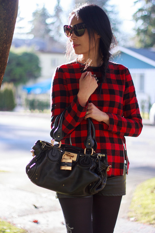Zara buffalo plaid, tartan, plaid top, shirt, Forever 21 faux leather shorts, Zohara knit tights, ShoeMint Francoise booties, Chloe Paddington bag, House of Harlow Chelsea sunglasses, BCBG knuckle ring, fashion, style, winter, Vancouver