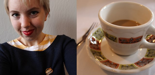 Selfie & Coffee Cup, Topsy's Kitchen, Petaluma CA - OOTD 1/11/2014