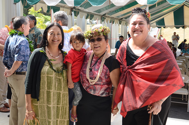 <p>Keiki Kawai'ae'a, the director of the UH Hilo Ka Haka 'Ula O Ke'elikōlani College of Hawaiian Language with her grand daughter Welina (center) alongside Maenette Benham (left), the dean of the UH Mānoa Hawaiʻinuiākea School of Hawaiian Knowledge and UH Mānoa Hawaiian Studies Professor Lilikala Kame'eleihiwa at grand opening of the college's new home, Haleʻōlelo.</p>