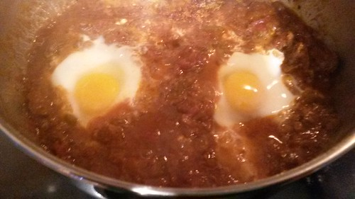 Poaching eggs in leftover Swiss steak by christopher575