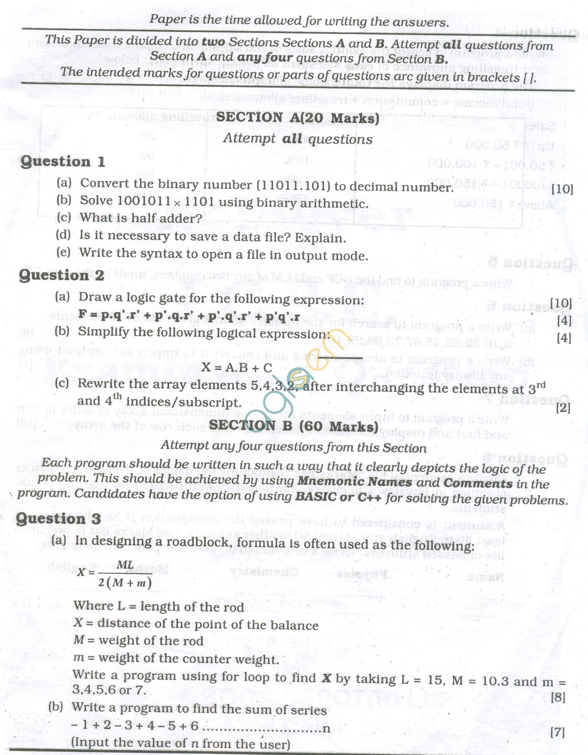ICSE Question Papers 2013 for Class 10 - Computer Science