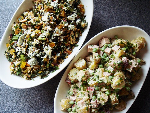Kale Salmond Farro Salad & Sausage Fingerling Potato Salad