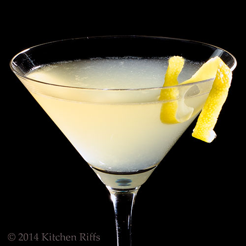 Twentieth Century Cocktail with lemon twist garnish