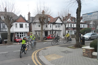 Riding into West Heath Avenue