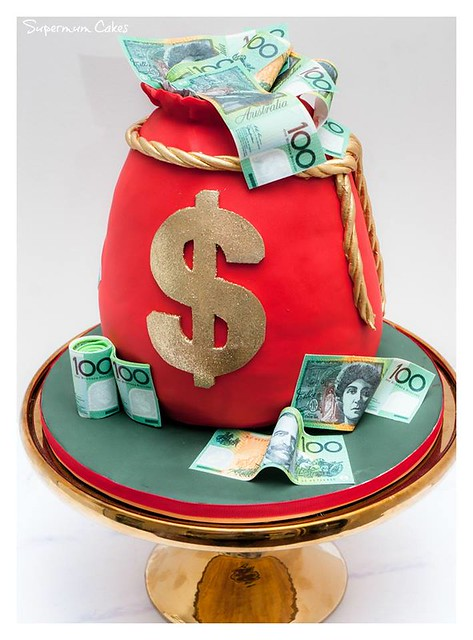 Mr Money Bag Cake by Supermum Cakes on the Gold Coast