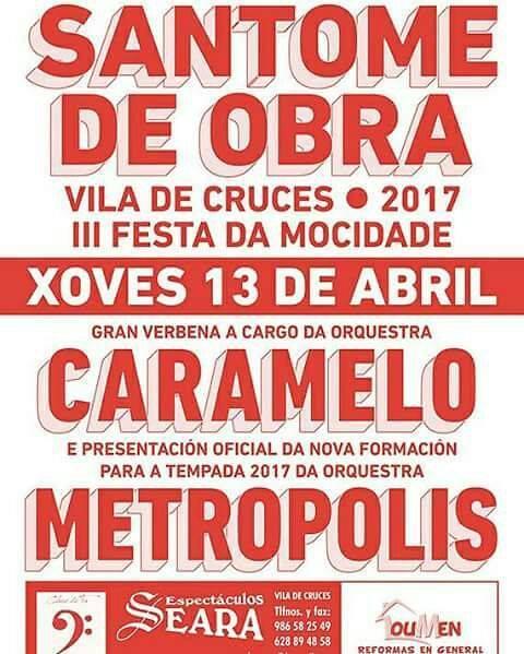Vila de Cruces 2017 - III Festa da Mocidade de Santome de Obra - cartel