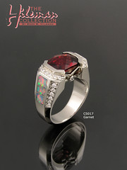 Australian Opal and Garnet Ring with Diamond Accents