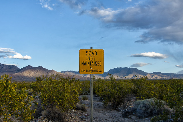 road not maintained. mojave desert, ca. 2013.