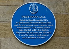 Photo of Weetwood Hall, Leeds, Daniel Foxcroft, and Alf Cooke blue plaque