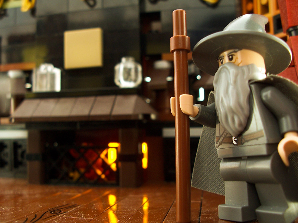 Gandalf by a Fireplace (custom built Lego model)