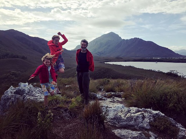094/365 • on the day we arrived in Port Davey and tied up to the jetty at Clayton's Corner, we climbed TV Hill - so happy that we'd made it! • . #family #love #jump #exploring #southwest #claytonscorner #portdavey #tvhill #abcmyphoto #tasmania #discoverta