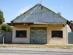Manangatang in the Upper Wimmera Victoria. Old hardware store which was an agent for Metters Stoves from Adelaide.