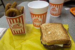 Whataburger Patty Melt and Onion Rings