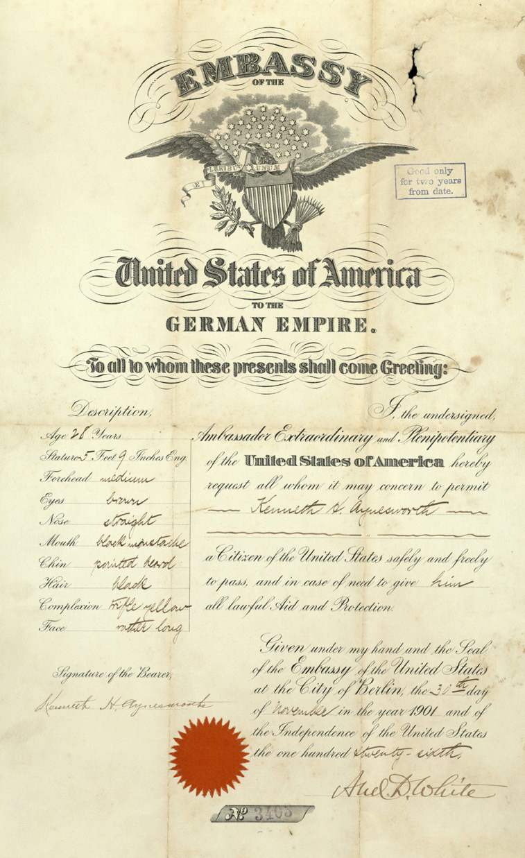 Certificate granting Kenneth Hazen Aynesworth's protection as a citizen when studying in Berlin, Germany, circa 1901